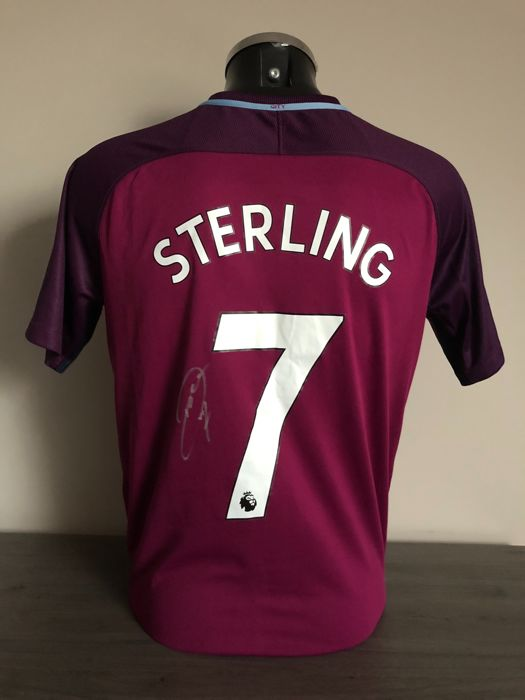 Raheem Sterling signed Manchester City away shirt 2017-2018 with photo of the moment of signing and COA
