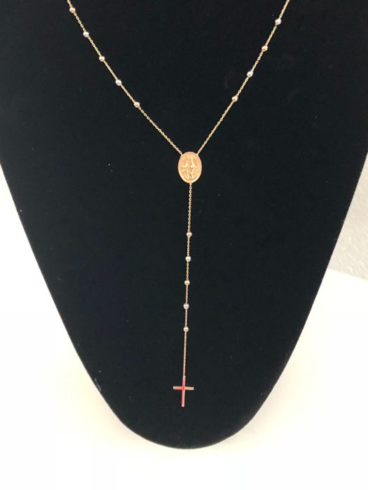 Rosary in tricolour gold 14 kt