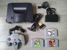 Nintendo 64 console, with controller, cables & 3 games - Super Mario 64, Carmageddon 64, F1 World Grand Prix