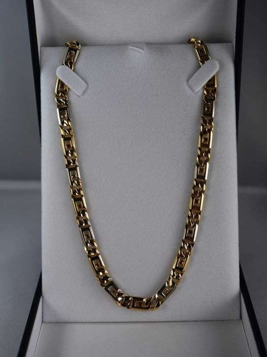 Gold Bi-colour necklace Rolex link 18 kt 750/1000
