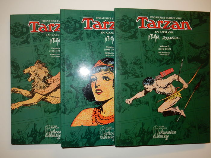Foster, Harold + Hogarth, Burne - Tarzan in Color Volumes 4+5+6 - 3x hc in leatherette with dust jacket - 1st edition - (1993-1994)