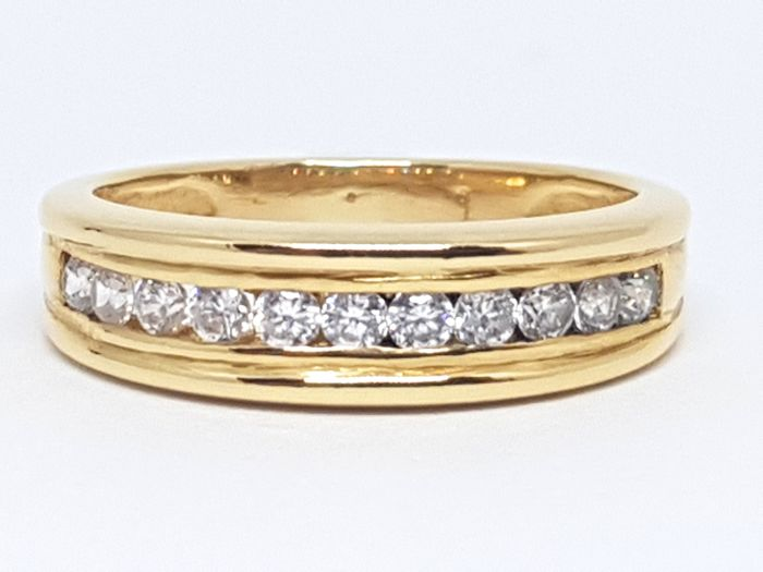 18K Yellow gold diamond alliance ring, total diamond weight:  0,50ct. -  Ring Size 50 / 16,00mm