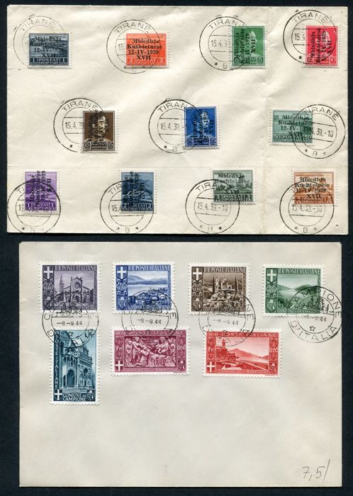 Italy Occupied Territories 1940/1945 -  Collection including  overprint variety