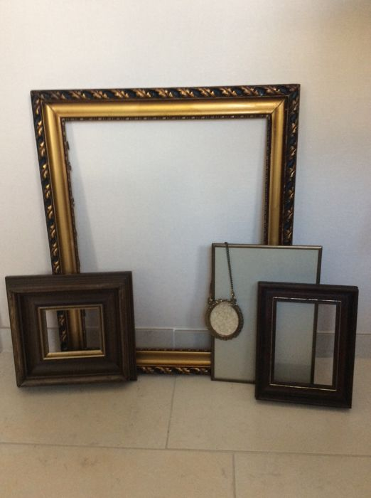 Five Unique And Old Frames Made With Plaster On Wood And Brass