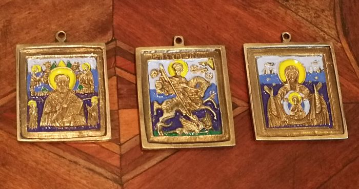 Three solid bronze Russian travel icon - enamelled - early 20th century