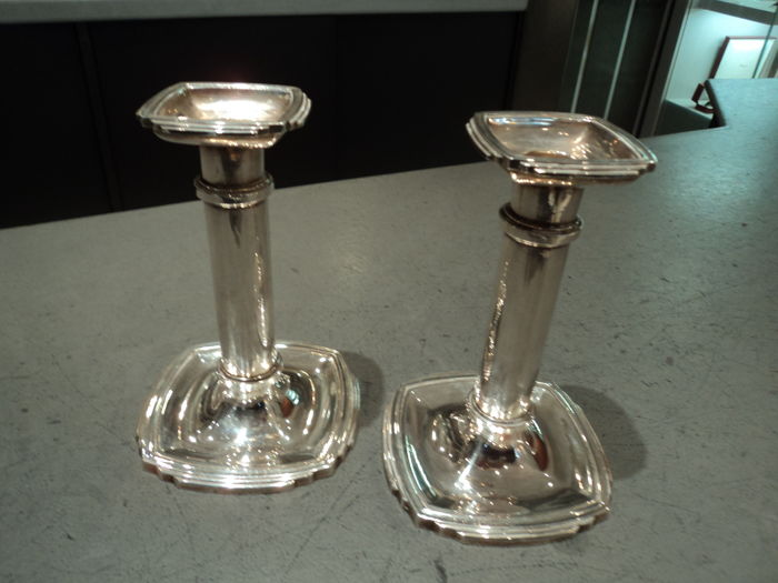 Pair of silver plated candlesticks by Ricci Argentieri