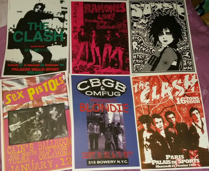Six very cool, Punk Rock concert posters( reproduction ). Size A3( 42 cm x 30 cm approx' ).