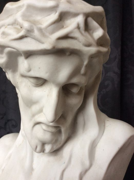 Very rare Original work in biscuit, signed Christ bust France, Belgium? 19th century