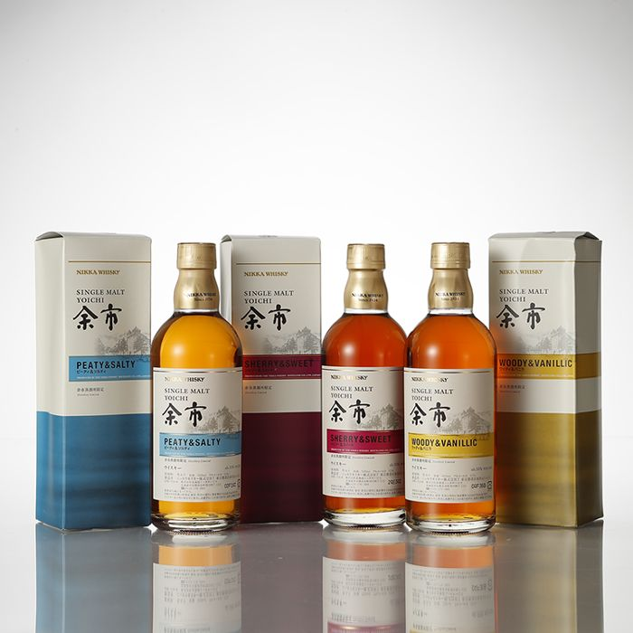 3 bottles - Nikka Whisky Yoichi Peaty and salty, Sherry and sweet,  woody and vanillic - Combo package