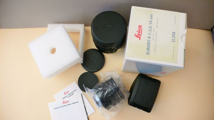 Leica R ELMARIT 2.8/19 Order No. 11258 complete with all papers