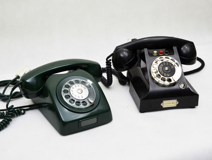 Two Original: Swedish LM Ericsson telephone, bakelite ca. 1940 / Lm Ericsson, ca.1950