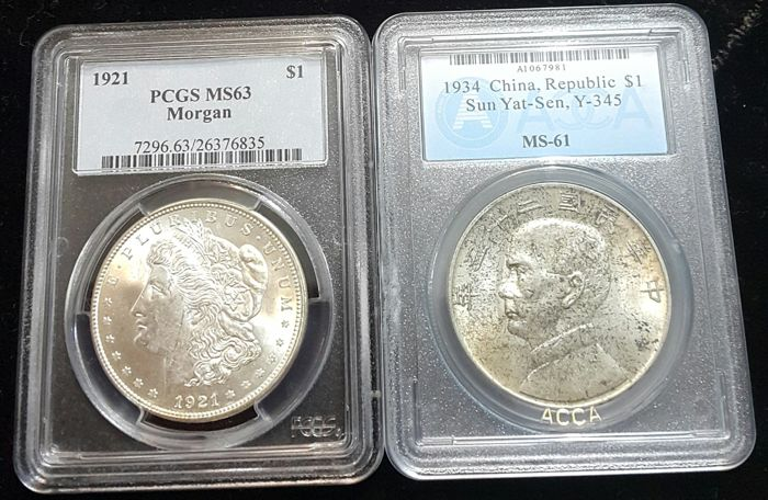 China Republic and U.S.A.- Yuan (Dollar) Year 23 (1934) Sun Yat sen + Dollar (Morgan) 1921 in Slabs - silver