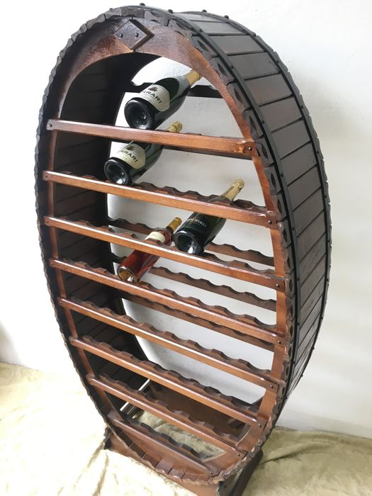 Large Wine Rack, Solid Wood and Wrought-Iron, 55 spaces, 1980s (153 x 86 x 31 cm)