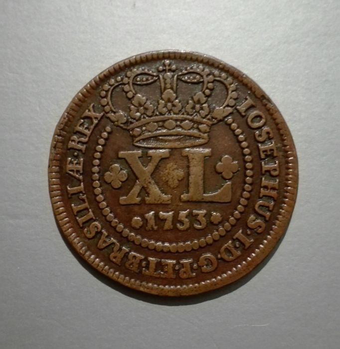 Brazil - Portugal, Monarchy - José I (1750-1777) - XL Reis (40 Reis) - 1753 - Copper