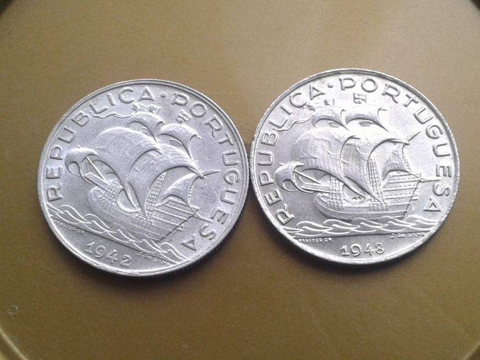 Portugal, Republic - 5 Escudos - 1942 & 1948 - Silver