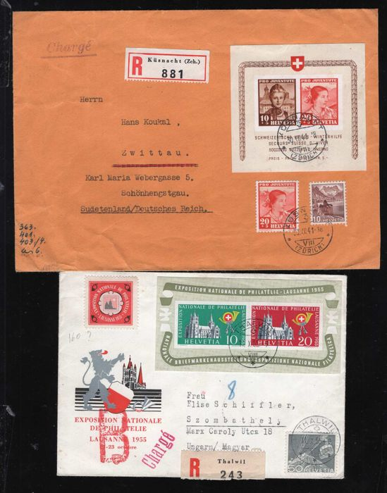 Switzerland 1941/1955 - block Michel no. 6 and no. 15 each on letter