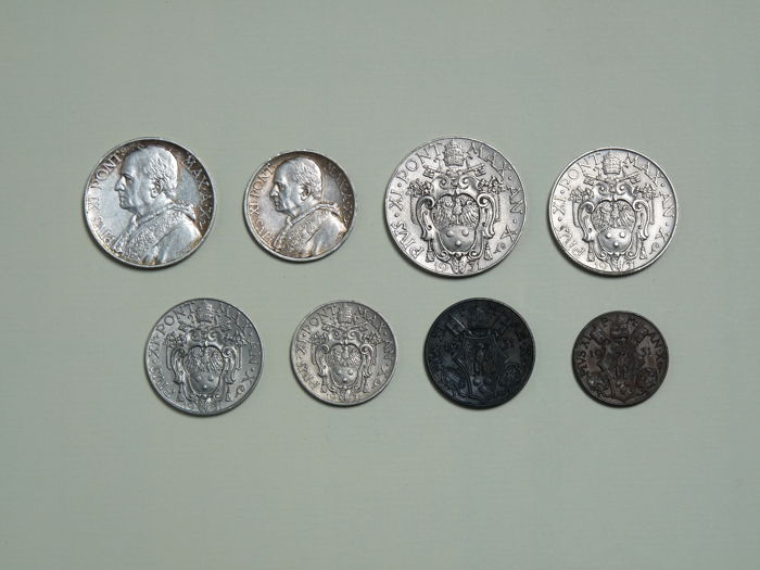 Vatican City - Complete series of 8 coins in Lire (including silver) of Pope Pius XI - 1931 Year III
