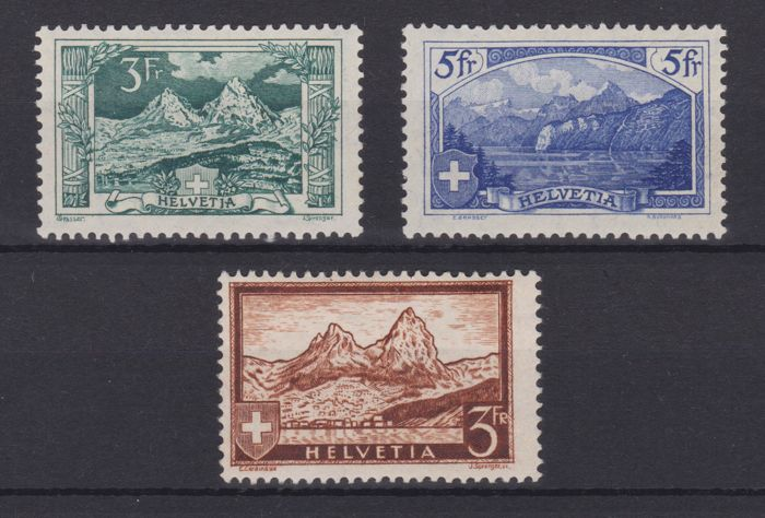 Switzerland 1914/1971 - Selection of mountain views, 2 BF 21