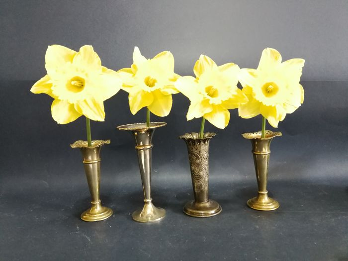 Lot of 4 silver plated vases consisting of a pair of vases and two single ones including one by Atkin Brothers