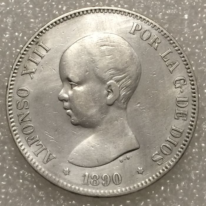 Spain – Alfonso XIII – 5 Pesetas – 1890 (90) MP-M – Silver