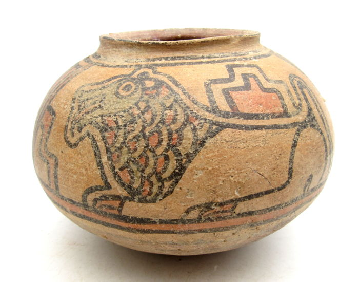 Ancient Indus Valley Painted Terracotta Jar with Deer & Lion Motif - 135x97mm