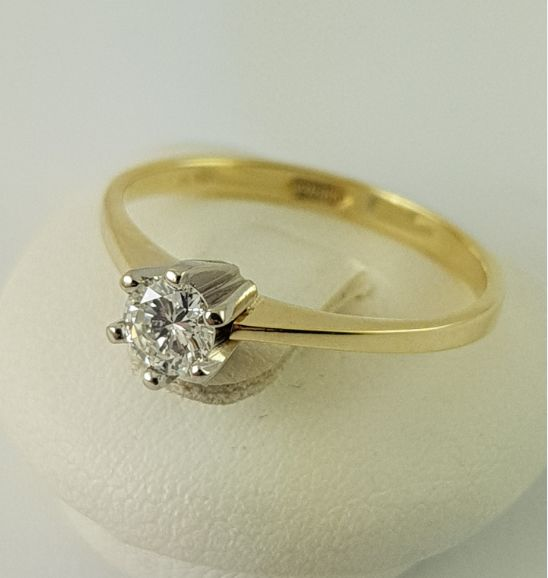 Brilliant ring - solitaire - 1 diamond weighing 0.20 ct - 585 yellow gold