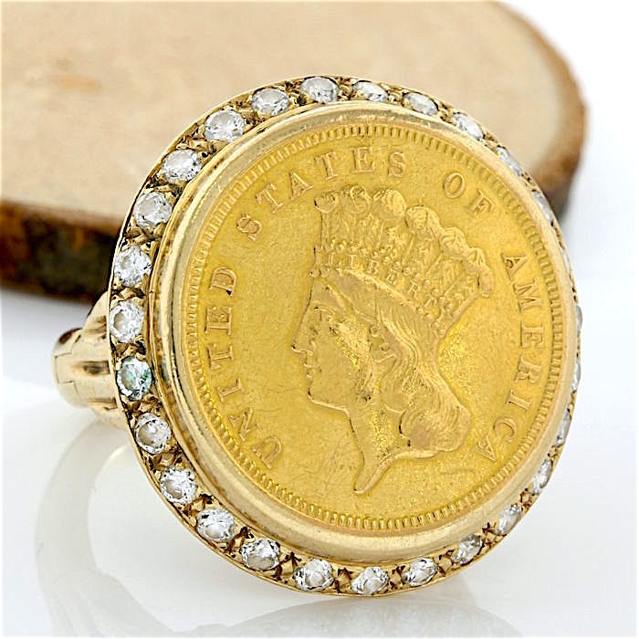 14/22 kt Yellow Gold 1.25 ct G-H, VS1-VS2 Diamond *United States of America Coin* Ring Size: 7/adjustable shank