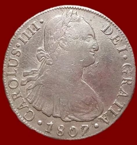 Spain - Carlos IV, 8 Silver Reales - Lima 1807 - 39 mm / 26.56 g