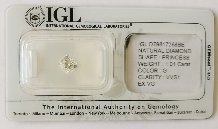 1.01 ct Princess Cut Diamond G VVS1 *** Low Reserve ***