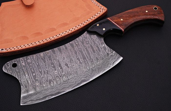 60 Cm Professional Cleaver CHEF'S Knife Rose Wood Handle Pattern Magnificent Pattern Welded Steel
