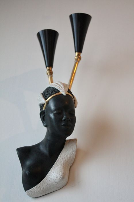 Unknown designer - Two-light sconce in the shape of an African woman's head