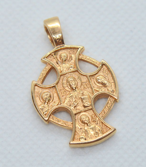 14 ct. Antique Gold Pendant Cross Icon, total weight 8.86 gr - size 33 x 20 mm