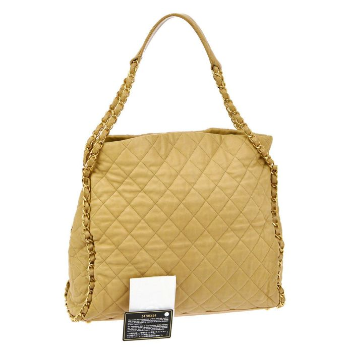 Chanel - Calfskin Quilted Large Chain Me Hobo Beige Tote bag