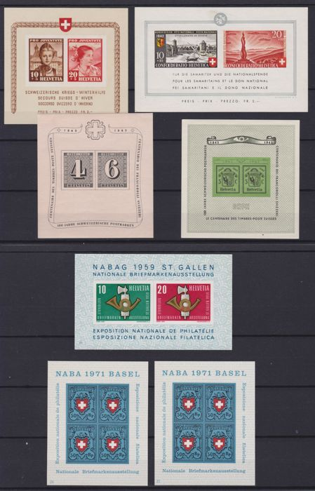 Switzerland, 1941/1971 – Selection of blocks – BF 6/7/9/10/16/21 + full sheet from 1942