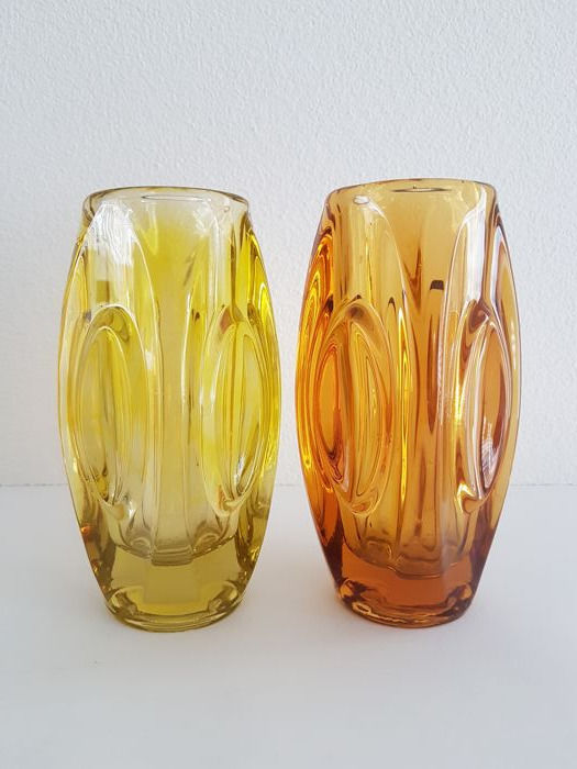 Rudolf Schrötter for the Union Sklo - two lens vases