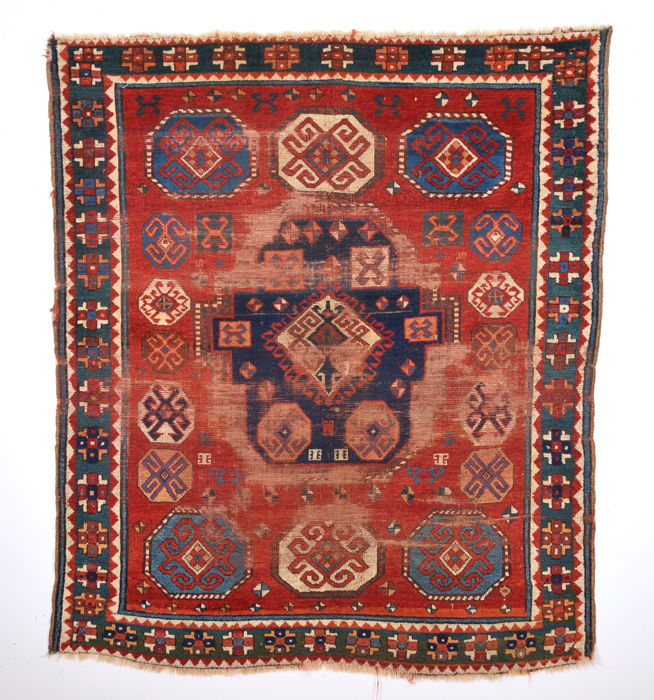 Circa 1840s Really Unusual Type of Three of life Caucasian Rug