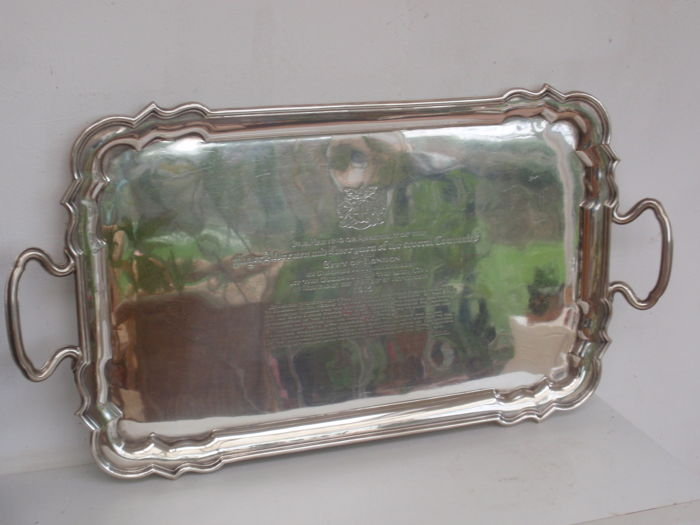 A commemorative sterling silver tray given to the Mayor of London, engraved inside is a document for his service during WW I