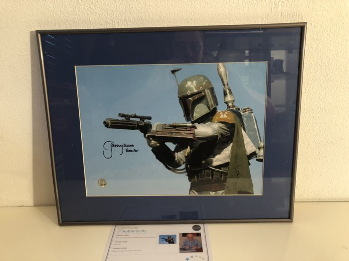 Boba Fett Signed Star Wars Photo: The Most Feared. In Deluxe Black Frame Framed + COA