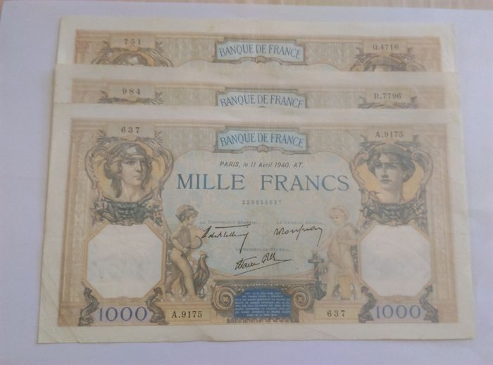 France - 3 x 1000 Francs 1938/39/40 - CERES ET MERCURE
