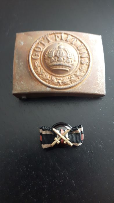Prussian belt buckle ww1 + reminder ribbon