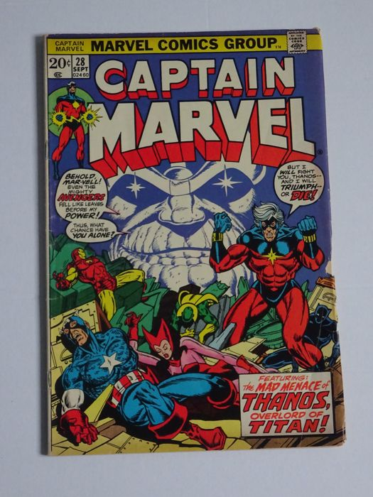 Captain Marvel #28 - Thanos & Avengers Appearance Nice book in Fine condition - (1973)