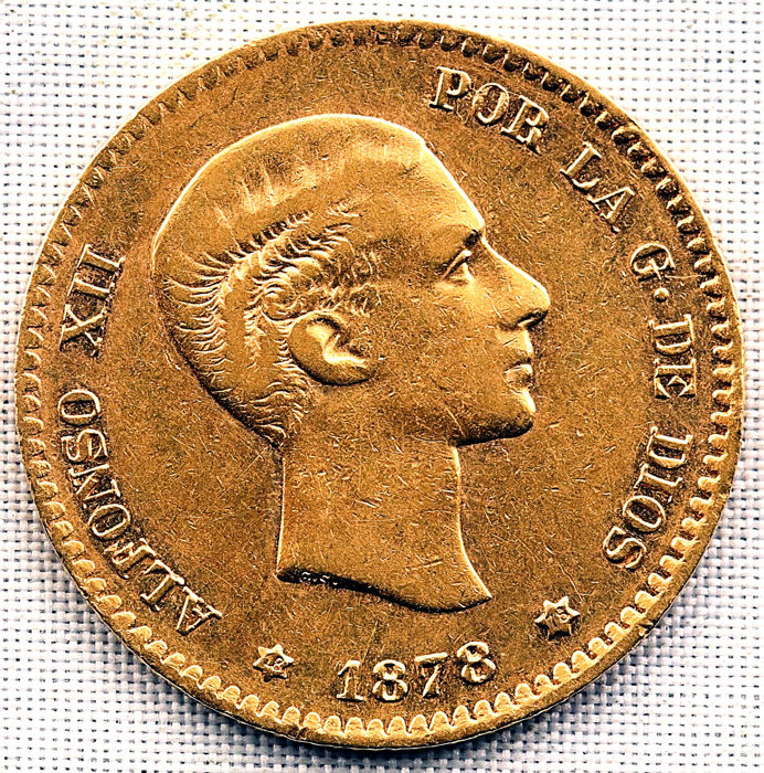 Spain - Alfonso XII - 10 Pesetas in Gold 3.2 g - 1878 - Madrid - Scarce