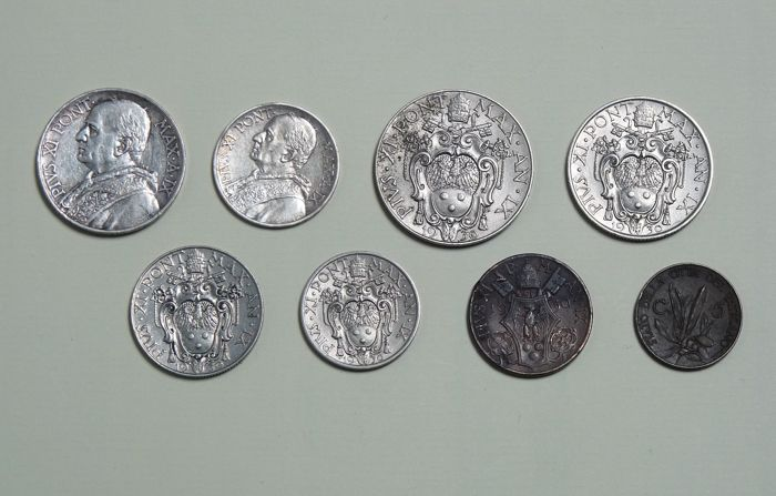 Vatican City - Complete series of 8 coins in Lire (including silver) of Pope Pius XI - 1930 Year II