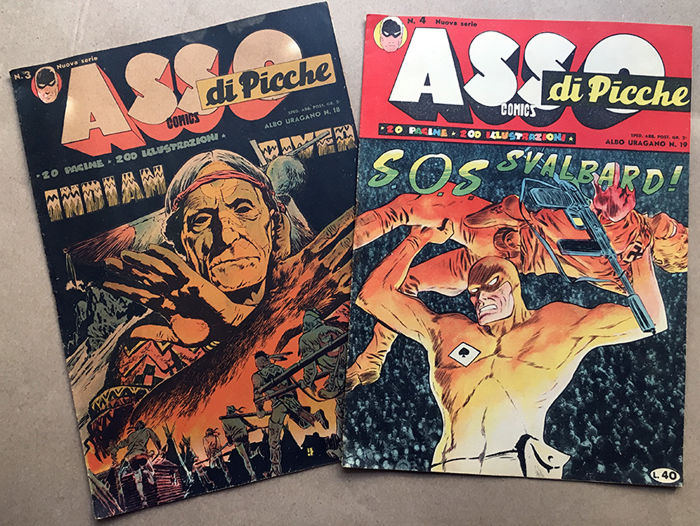 """Asso di Picche"" - issues nos. 1/5, 3rd series, cpl, first edition (1949)"