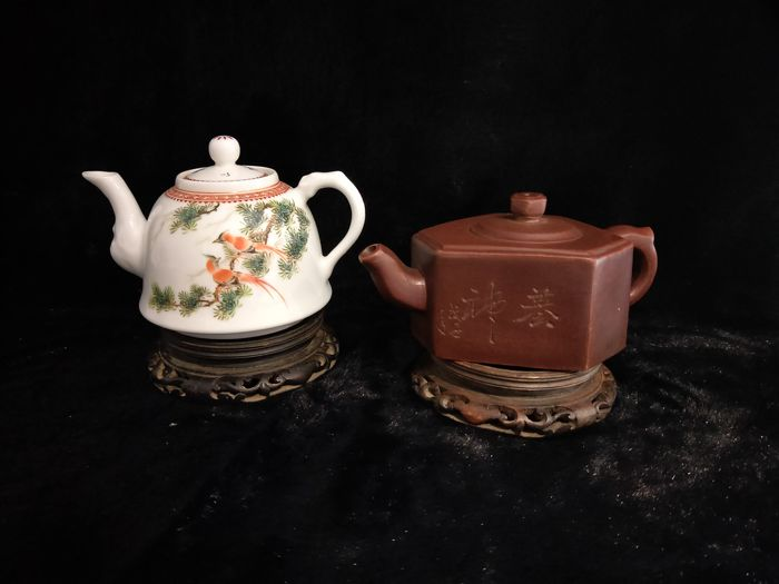 2 Yixing and ceramic teapots - China - late 20th/21st century