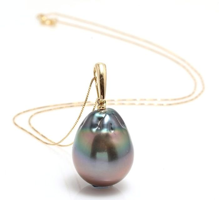18K Yellow Gold Necklace Featuring A Big Lustrous Tahitian Pearl Drop - Authenticity Certificate Included