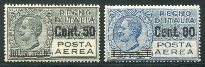 Italy, Kingdom 1917/1927 - Airmail 2 stamps overprinted - Sass. Nos  8/9