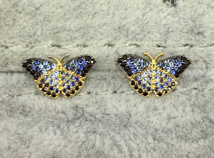 18kt Yellow Gold Massive Blue Butterfly Stud Earrings *No reserve-2.24gs