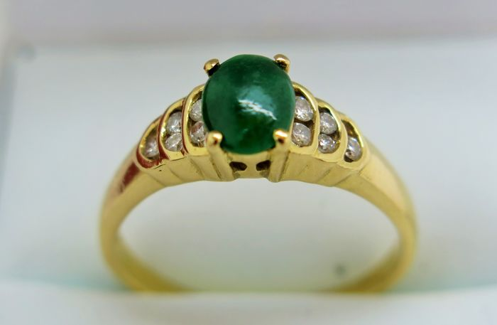 Jade and Diamond 0.10 ct 21K Gold Ring. Size 56 3/4 (P 1/2), Free Resizing
