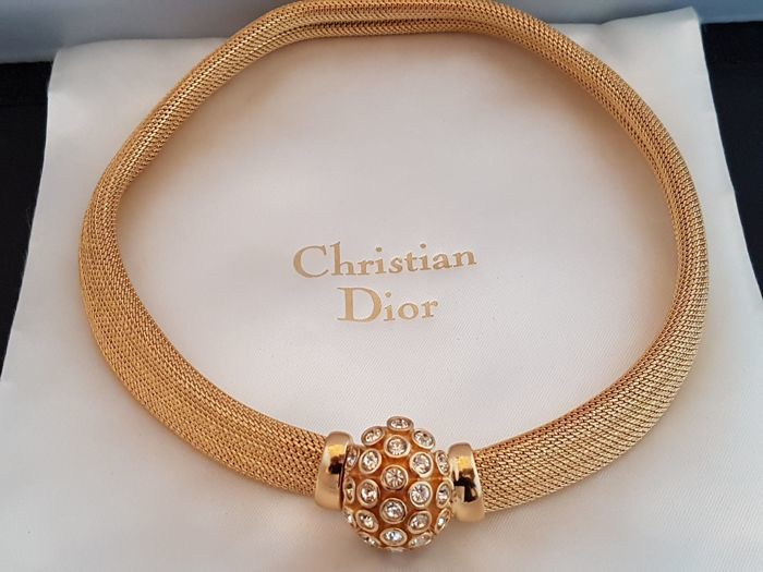 Christian Dior  gold tone vintage choker set with crystals Paris